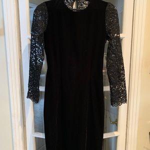 Zara velvet/lace black midi dress. Size Medium